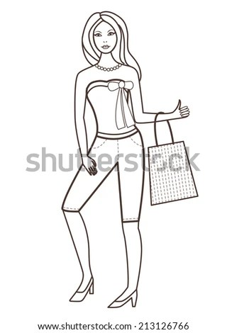 Silhouette Woman Shopping Vintage Style Stock Vector