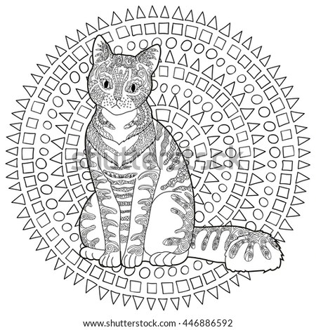 High Detail Patterned Cat Zentangle Style Stock Vector