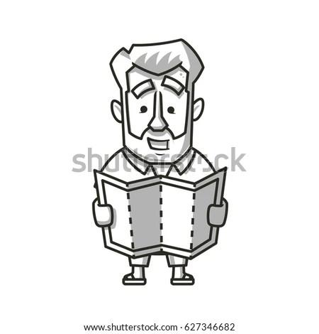 Traveler Man Beard Looking Map Vector Stock Vector