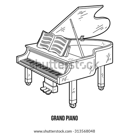 Coloring Book Children Musical Instruments Grand Stock