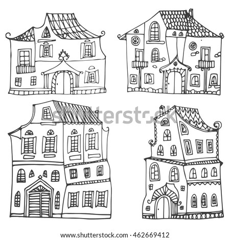 Victorian Cute Little Houses Set Outline Stock Vector