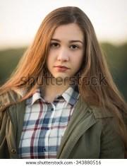 beautiful teen girl long hair wearing