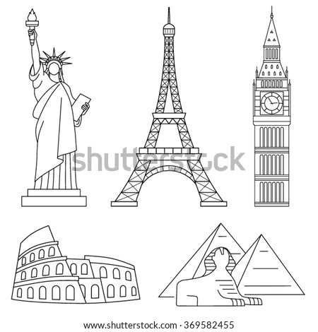 World Landmarks Eiffel Tower Statue Liberty Stock Vector