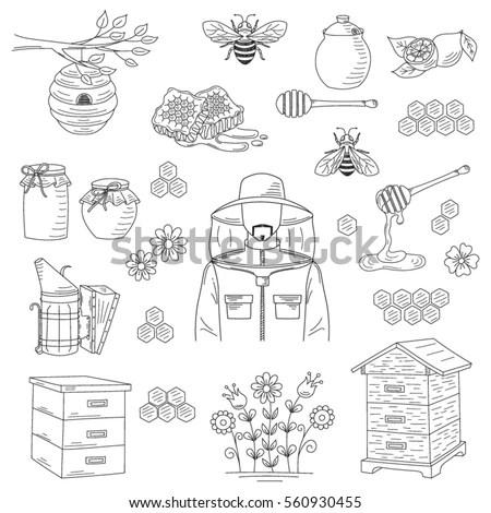 Vector Honey Collection Beekeeping Elements Bee Stock