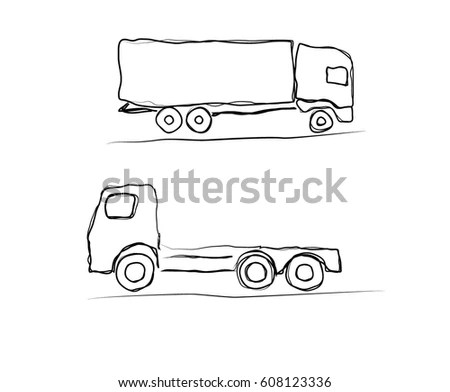 Two Different Types Common American Flatbed Stock Vector