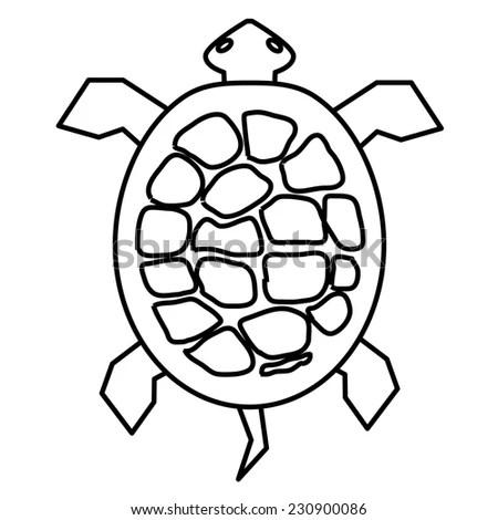 Ocean Turtle Simple Icon On White Stock Vector 390053716