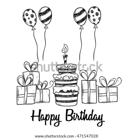 Birthday Party Cake Balloon Gift Using Stock Vector