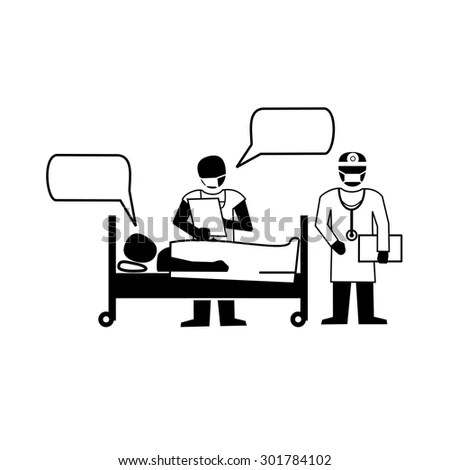 Doctor Medical Records Patient Lying Hospital Stock Vector