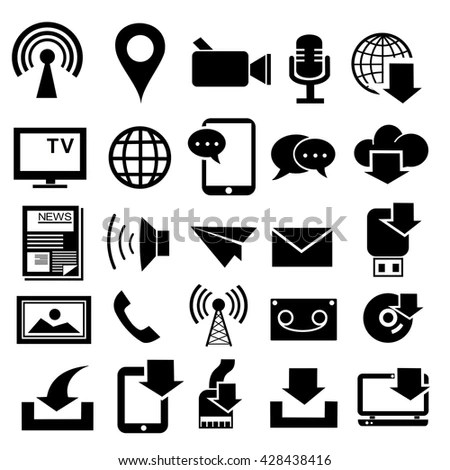 Media Communication Icons Modern Flat Design Stock Vector