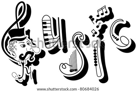 Vector Picture Funny Written Word Music Stock Vector