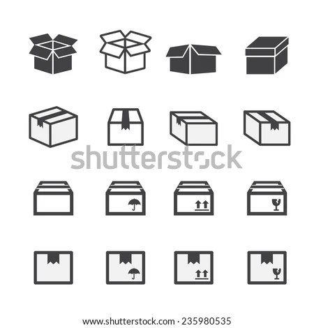 Box Icon Set Stock Vector (Royalty Free) 235980535