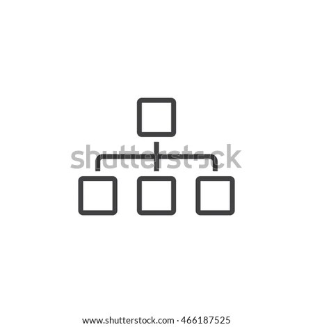 Sitemap Line Icon Chart Outline Vector Stock Vector