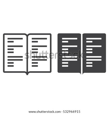 Book Line Icon Manual Outline Filled 스톡 벡터 532966915