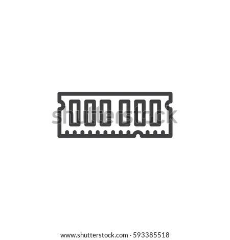 Ram Random Access Memory Line Icon Stock Vector 593385518
