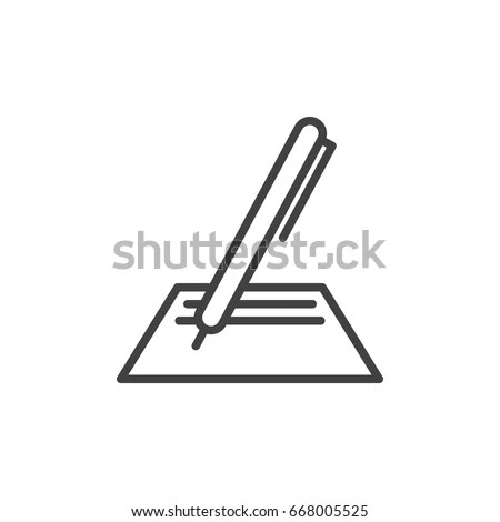 Pen Paper Line Icon Outline Vector 스톡 벡터 668005525