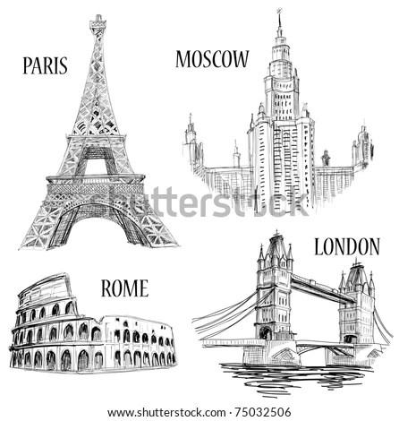 European cities symbols sketch: Paris (Eiffel Tower