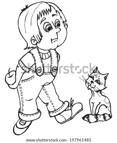 Vector Boy Catapple Contours Coloring Page Stock Vector