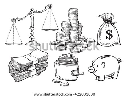 Finance Money Set Scales Stack Coins Stock Vector