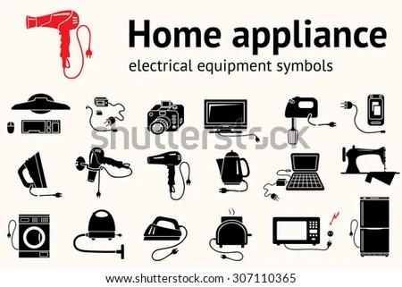 Home Kitchen Equipment Icon Set Hairdryer Stock Vector