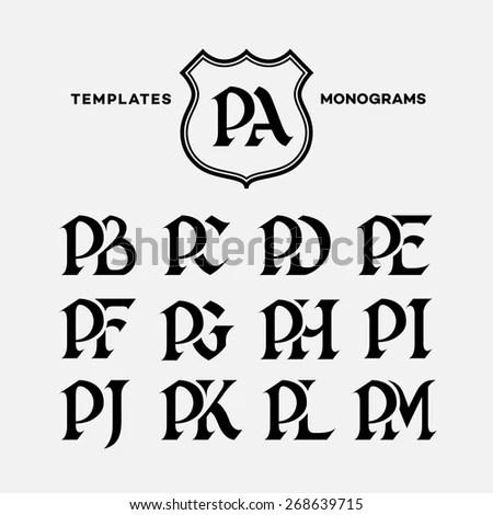 Monogram Design Template Combinations Capital Letters