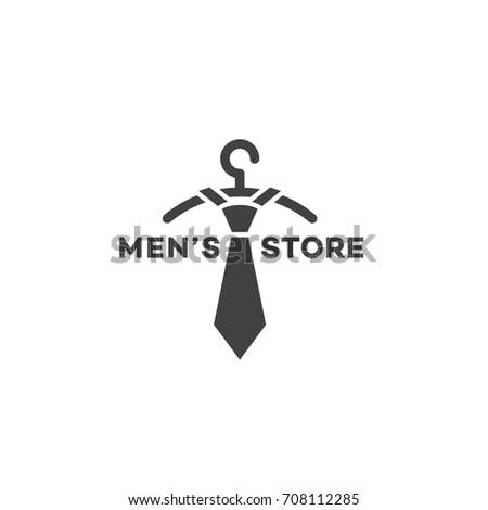 Mens Store Logo Template Design Hanger Stock Vector