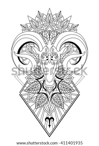 Aries Mandala Tattoo Design Horn Sheep Line Stock Vector