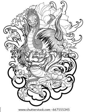 Hand Drawn Oni Skull Entwined By Stock Vector (Royalty