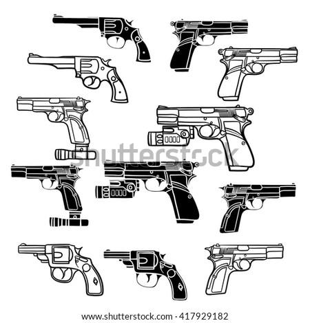 Gun Revolver Handgun Six Shooter Pistol Stock Vector