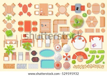 icons set outdoor furniture and patio items top view isolated vector illustration
