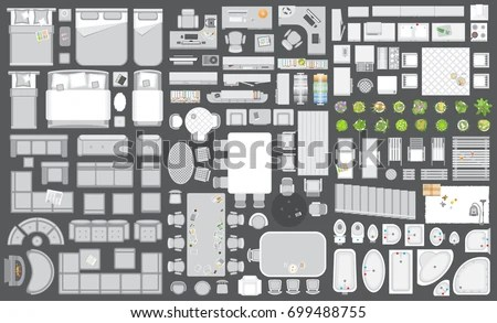 Icons Set Interior Furniture Top View Stock Vector