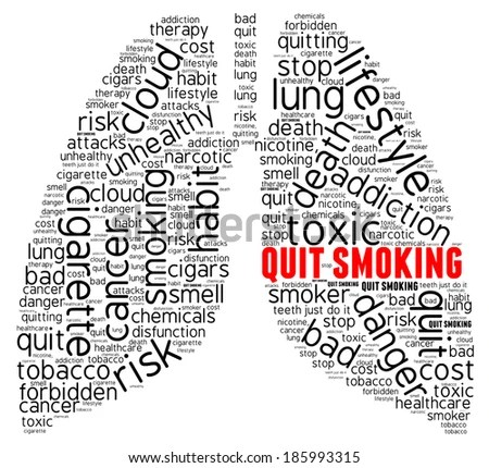 Smoking Word Cloud Concept Isolated Stock Illustration