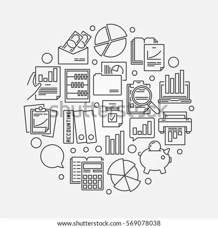 Accounting Research Illustration Vector Circular Outline