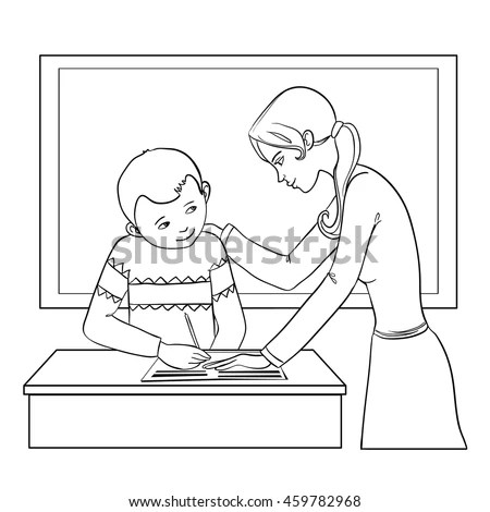 Teacher Helps Boy Classroom Resolve Tasks Stock Vector