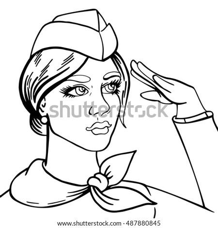 Girl Stewardess Drawn Vector Pop Art Image vectorielle de