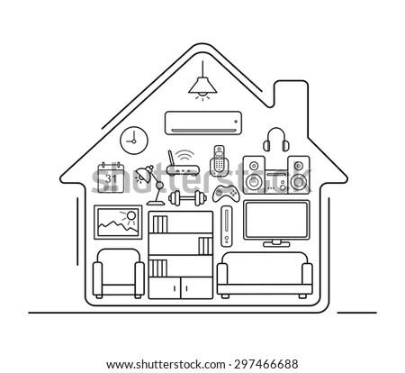 Modern Smart Home Thin Line Art Stock Vector 297466688