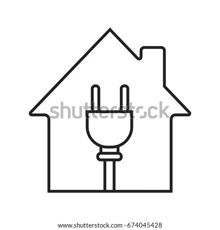 House Wire Plug Inside Linear Icon Stock Vector 674045428