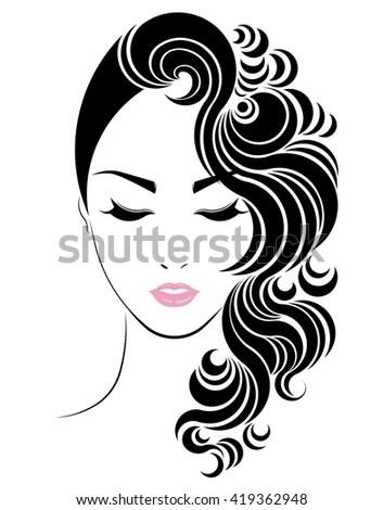Long Hair Style Icon Logo Women Stock Vector 419362948