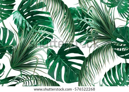 Tropical Palm Leaves Jungle Leaf Seamless Stock Vector