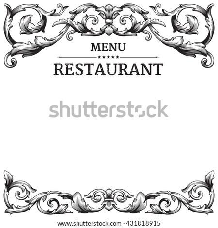 Restaurant Label Design Old Floral Frame Stock Vector