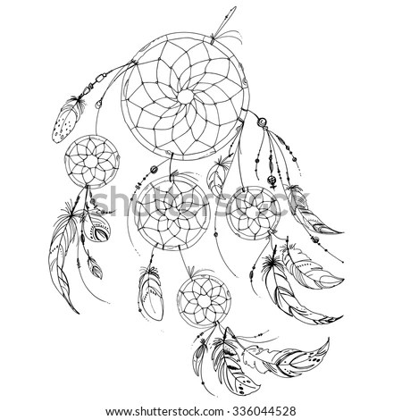 Set Ornaments Feathers Beads Native American Stock Vector