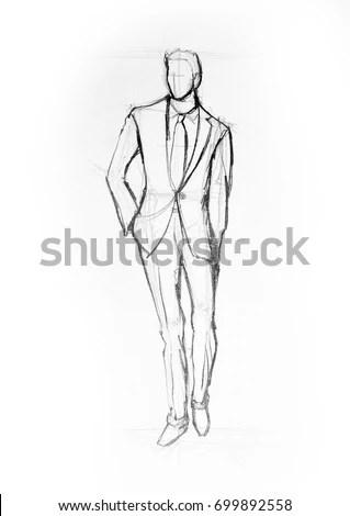 Drawing Illustration Sketch Man Suit Walking Ilustración