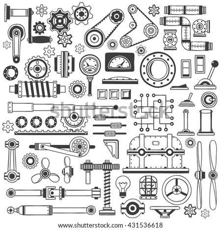 Set Industrial Machine Parts Doodle Style Stock Vector