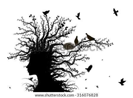 Tree Soul Face Tree Spirit Nature Stock Vector 316076828