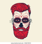 beard men face sugar skull tattoo