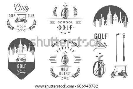 Vector Set Vintage Golf Club Logos Stock Vector 606948782
