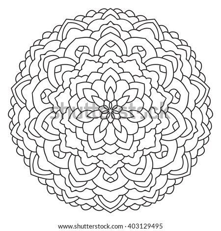 East Circular Pattern Mandala Coloring Page Stock Vector