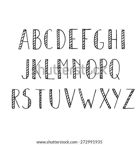 Hand Drawn Alphabet Set Pencil Texture Stock Vector