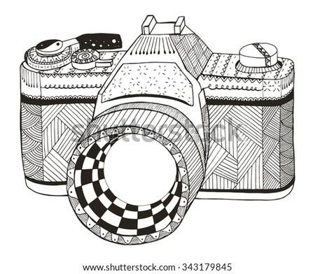 Retro Photo Camera Zentangle Stylized Vintage Stock Vector