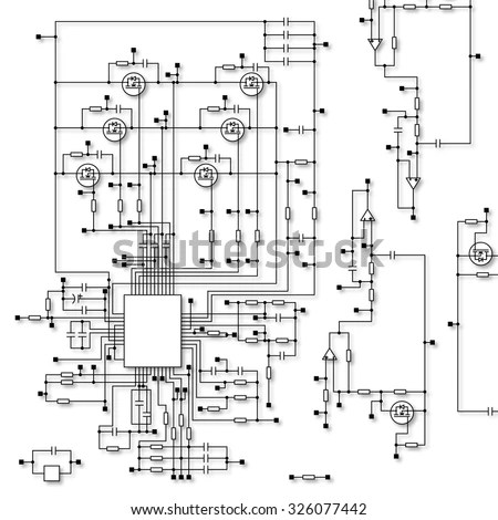 Schematic Diagram Project Electronic Circuit Graphic Stock