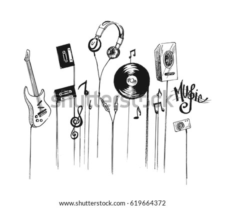 Musical Instruments Hand Drawn Sketch Vector Stock Vector
